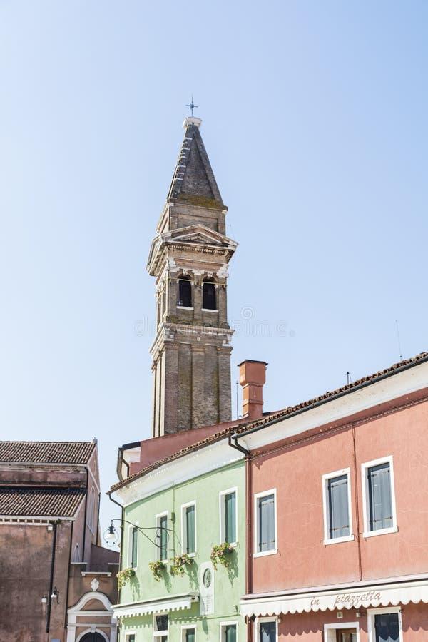 The Campanile of San Martino Church, Burano, Venice, Veneto royalty free stock photos