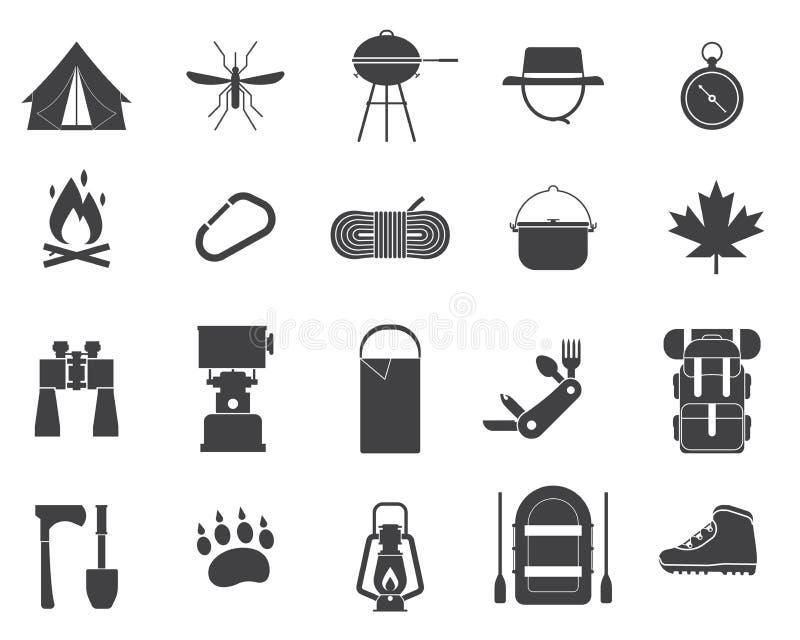 Campant et augmentant des icônes de vecteur illustration stock
