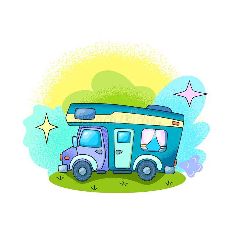 Camparebil som är utomhus- i illustration för vektor för skogRV-bil på vit bakgrund Sommarlopptransport Loppmedel royaltyfri illustrationer