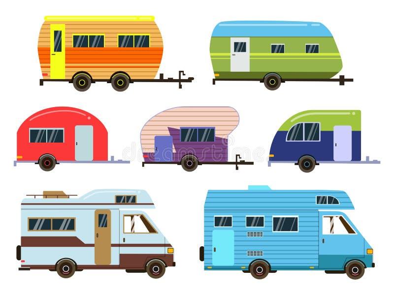 Camparebiluppsättning Olika semesterortsläp Vektorbilder i plan stil royaltyfri illustrationer