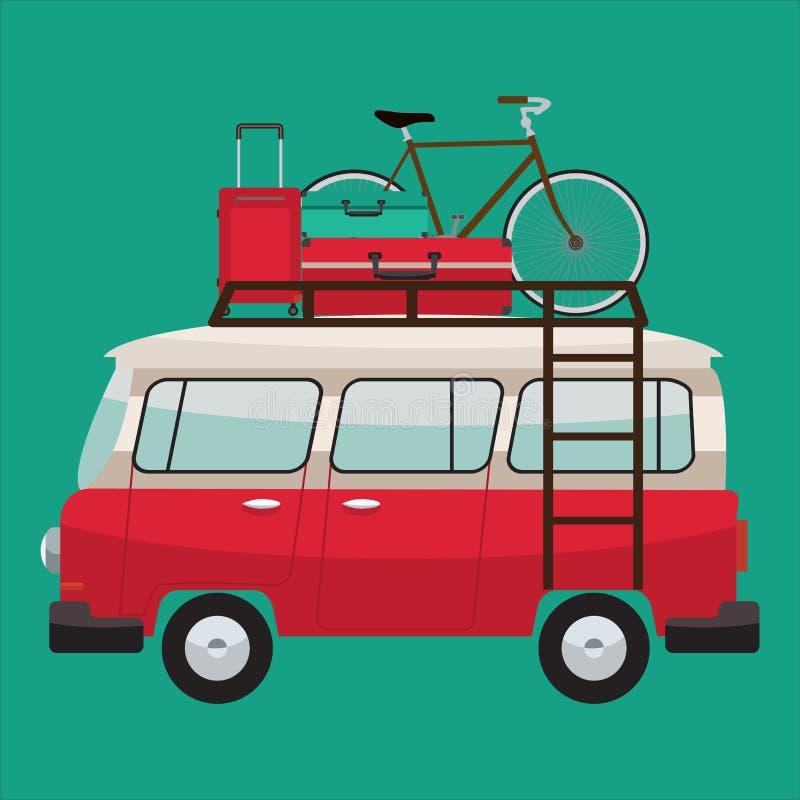 Campareskåpbil för sommarterritorium för katya krasnodar semester Design för vektorlägenhetfärg stock illustrationer