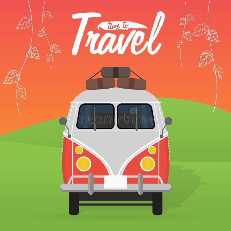 Campareskåpbil för sommarterritorium för katya krasnodar semester också vektor för coreldrawillustration stock illustrationer