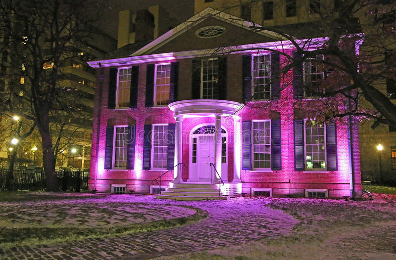 Campbell House Museum at night. Campbell House Museum - Toronto, Ontario, Canada royalty free stock photo