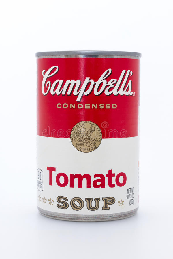 Campbell's tomato soup can. Massa, Italy - August 19, 2016: Campbell's condensed tomato soup can on white background. The Campbell Soup Company, or Campbell's royalty free stock image
