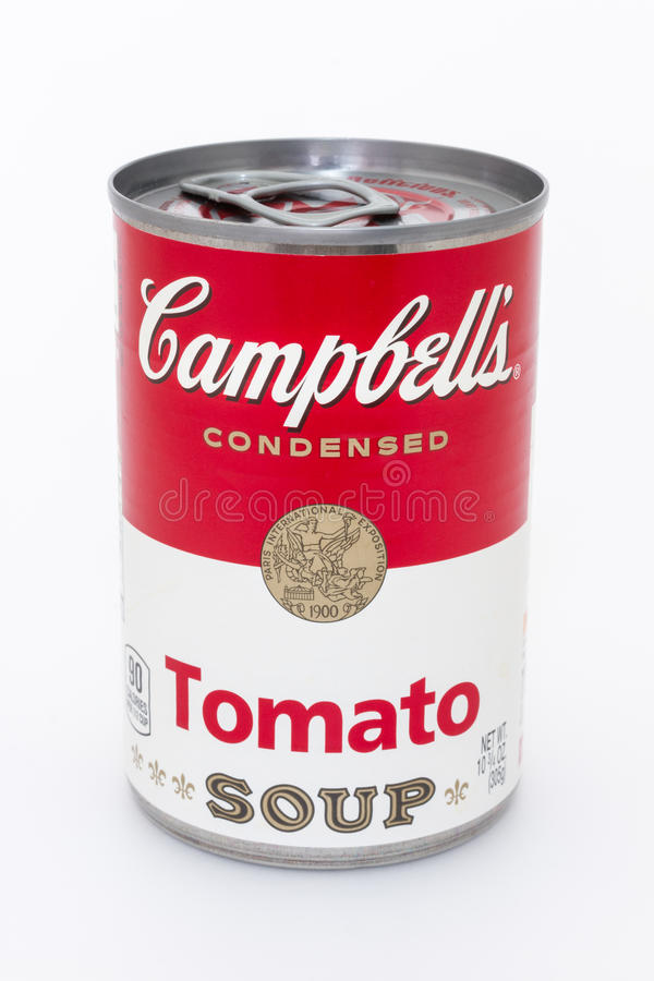 Campbell's tomato soup can. Massa, Italy - August 19, 2016: Campbell's condensed tomato soup can on white background. The Campbell Soup Company, or Campbell's stock photography