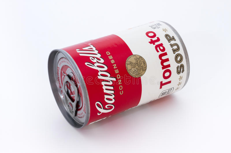 Campbell's tomato soup can. Massa, Italy - August 19, 2016: Campbell's condensed tomato soup can on white background. The Campbell Soup Company, or Campbell's royalty free stock photos
