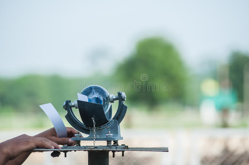 Campbell-Stokes Recorder. Meter long sun, a Campbell Stokes royalty free stock images