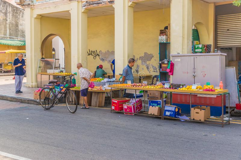 Campbell street fruit and vegetable market in George Town malaysia royalty free stock photos