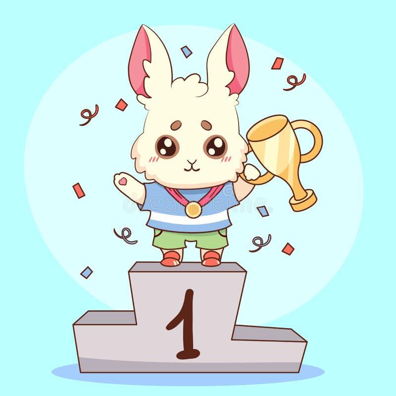 Campeão bonito do coelho do coelho com ilustração animal bonito do vetor dos desenhos animados do primeiro lugar da medalha e do  ilustração stock