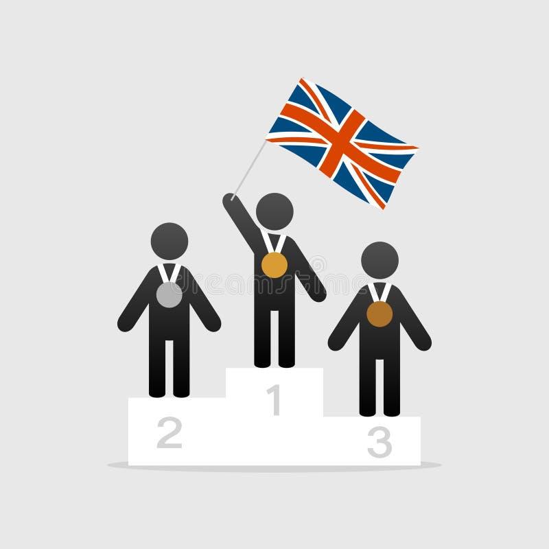Campeão com bandeira britânica ilustração stock