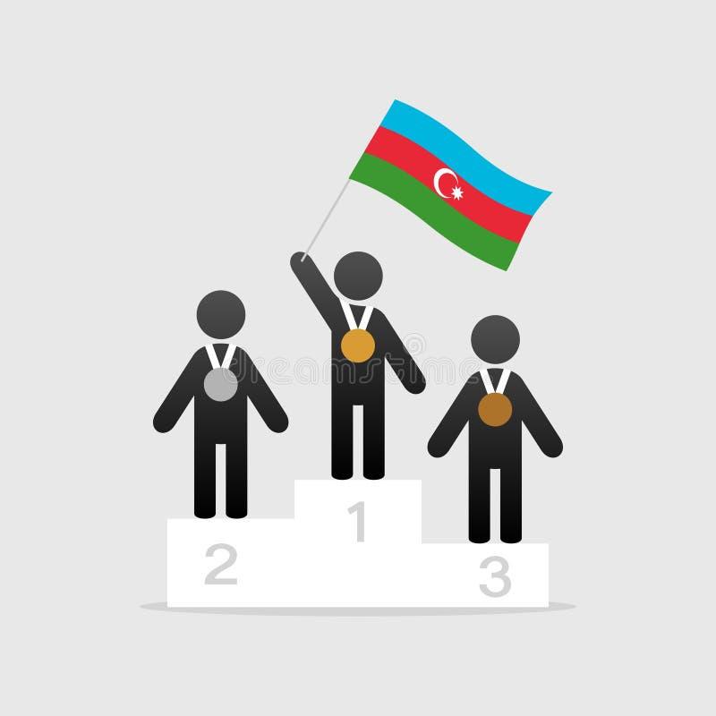 Campeão com bandeira de azerbaijan ilustração royalty free