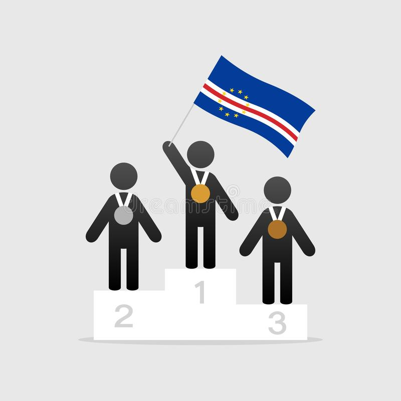 Campeão com bandeira de Cabo Verde ilustração stock