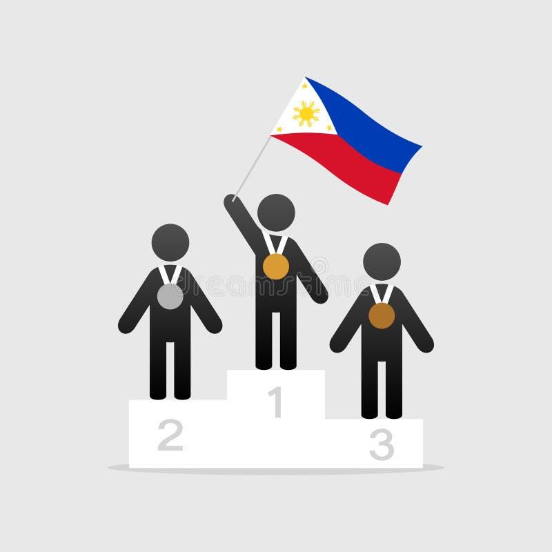 Campeão com bandeira de Filipinas ilustração do vetor