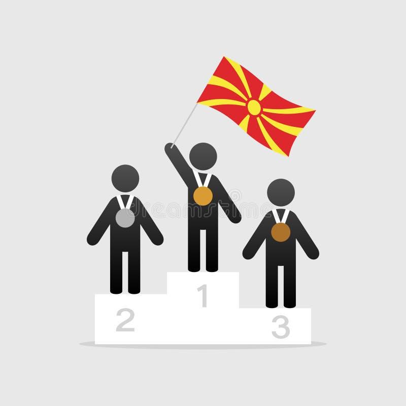Campeão com bandeira de Macedônia ilustração stock