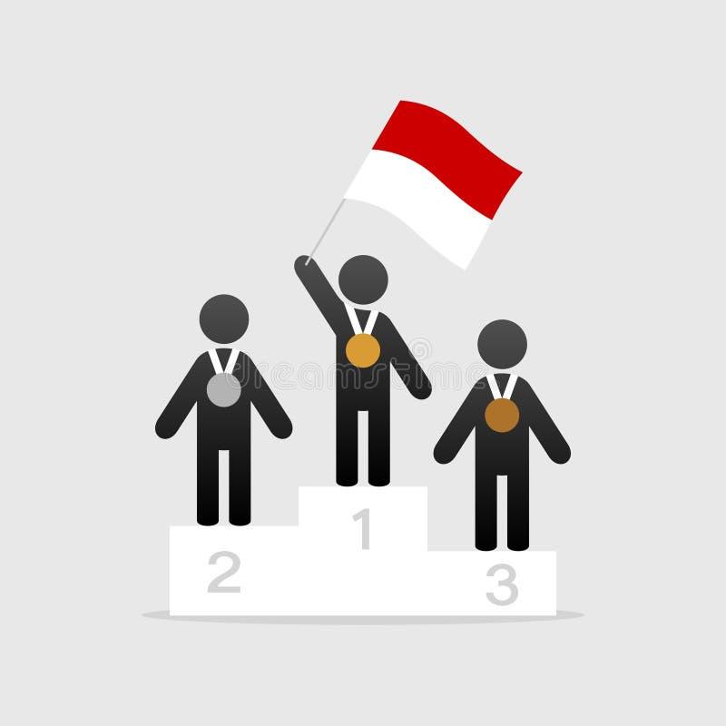 Campeão com bandeira de monaco ilustração royalty free