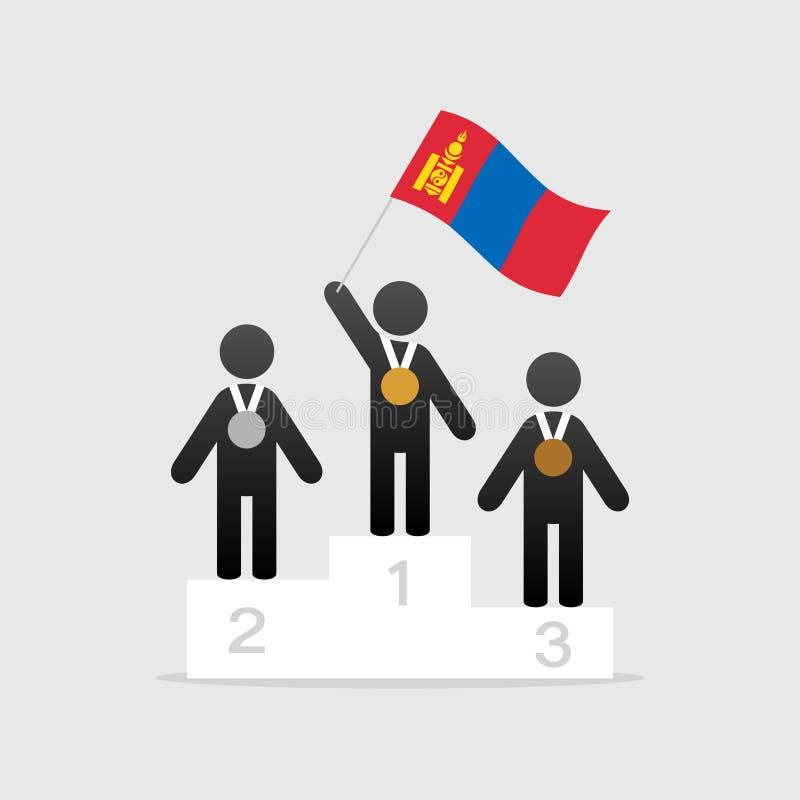 Campeão com bandeira de mongolia ilustração do vetor