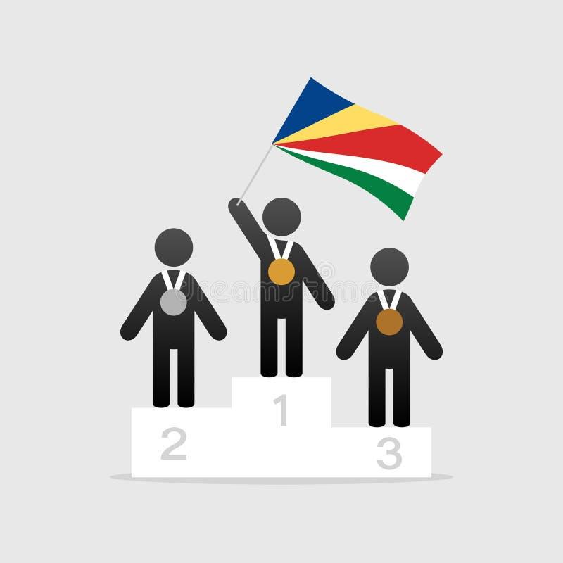 Campeão com bandeira de Seychelles ilustração stock