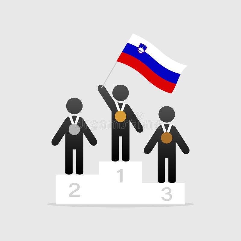 Campeão com bandeira de slovenia ilustração royalty free