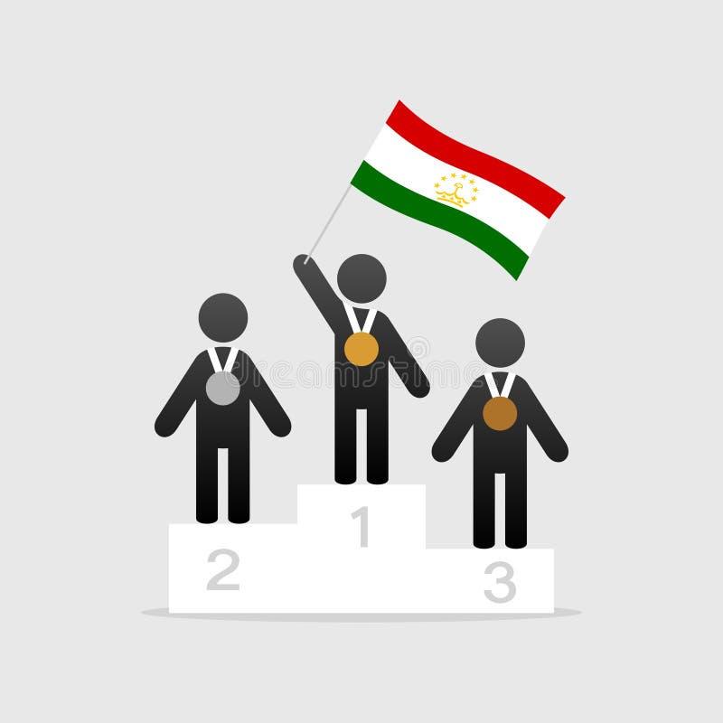 Campeão com bandeira de tajikistan ilustração do vetor