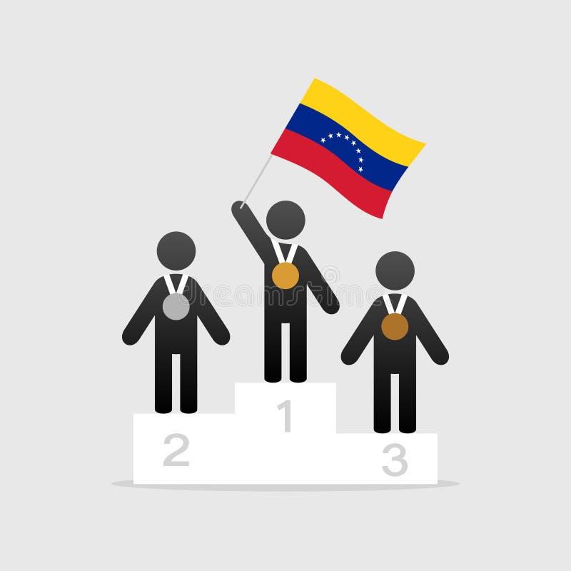 Campeão com bandeira de venezuela ilustração royalty free