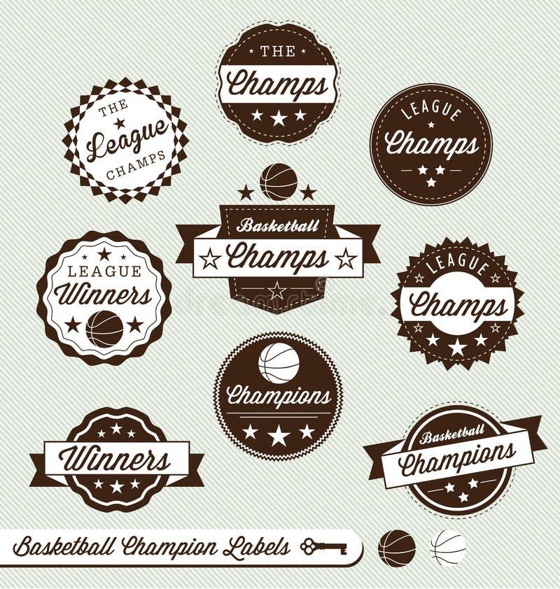 Campeão da liga de basquetebol e todas as etiquetas da estrela ilustração royalty free