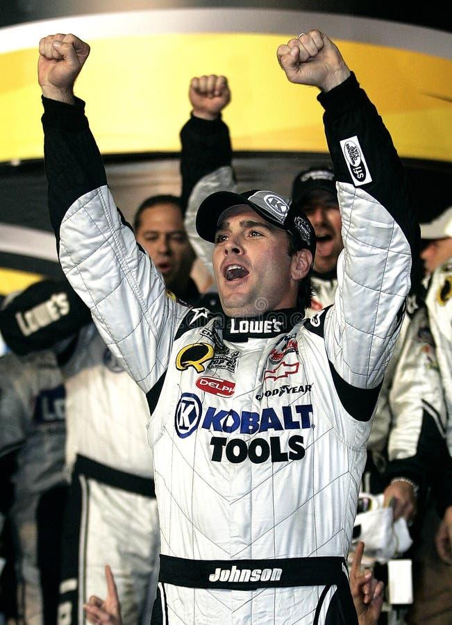 Campeão de Jimmie Johnson NASCAR fotografia de stock royalty free