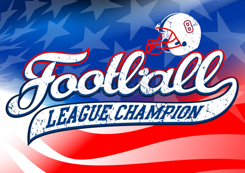 Campeão do campeonato de futebol na bandeira dos EUA ilustração royalty free