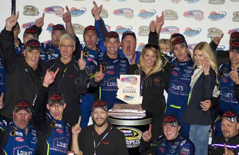 Campeão Jimmie Johnson do copo de NASCAR Sprint foto de stock