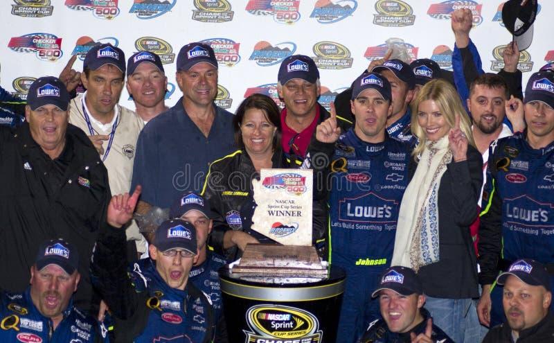 Campeão Jimmie Johnson do copo de NASCAR Sprint fotos de stock royalty free