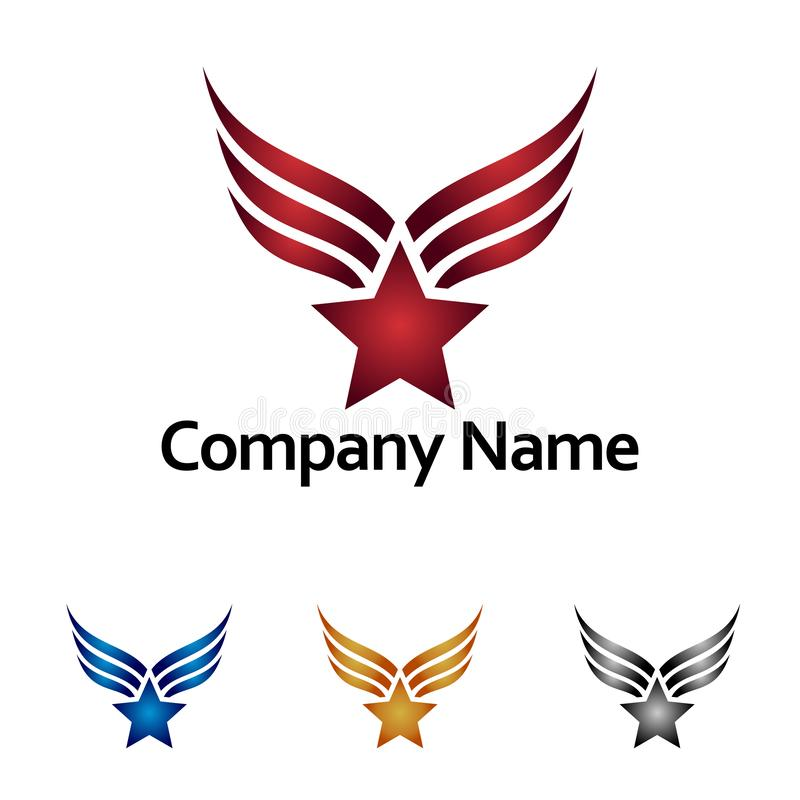 Campeão Logo Icon de Glory Star Wing Medal Winner ilustração stock