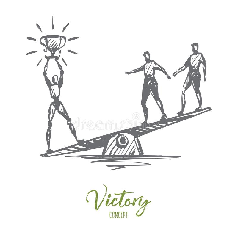 Campeão, sucesso, vitória, HCI, automatização, conceito da tecnologia Vetor isolado tirado mão ilustração do vetor