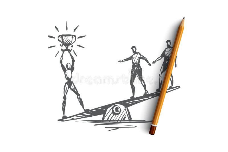 Campeão, sucesso, vitória, HCI, automatização, conceito da tecnologia Vetor isolado tirado mão ilustração stock