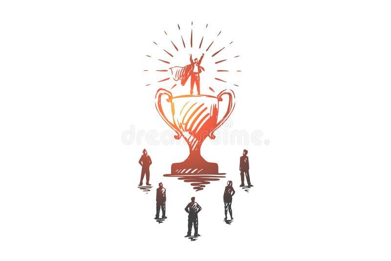 Campeón, éxito, victoria, hombre de negocios, concepto del superhombre Vector aislado dibujado mano ilustración del vector