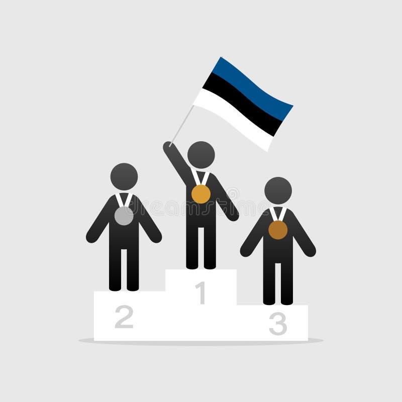 Campeón con la bandera de Estonia en el podio del ganador stock de ilustración