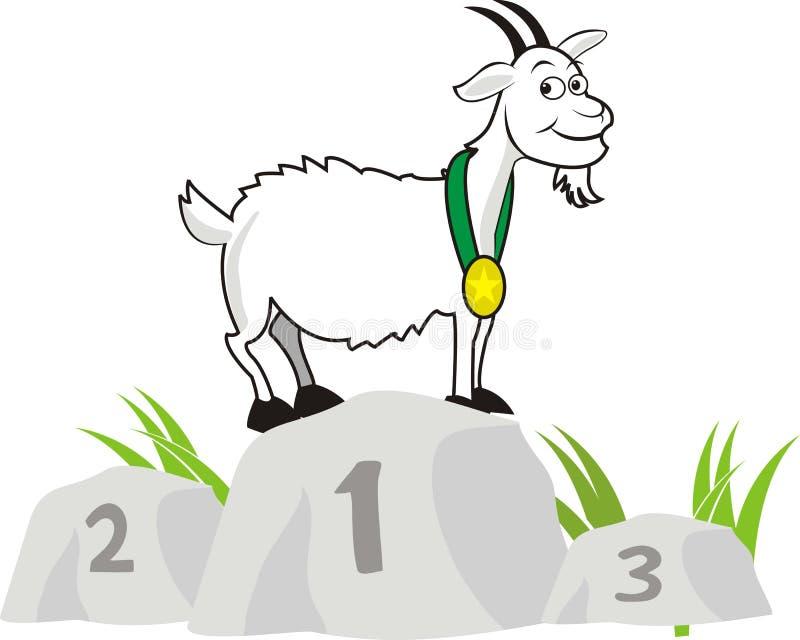 Campeón de la cabra colocación en la piedra del campeonato stock de ilustración