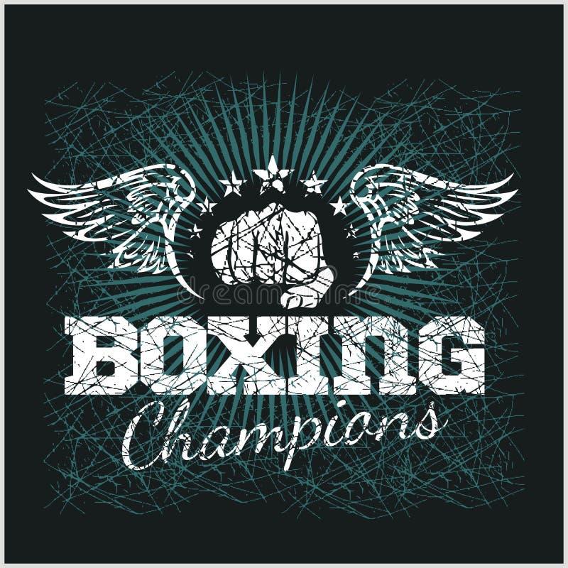 Campeón del boxeo - ilustraciones del vector del vintage para t stock de ilustración