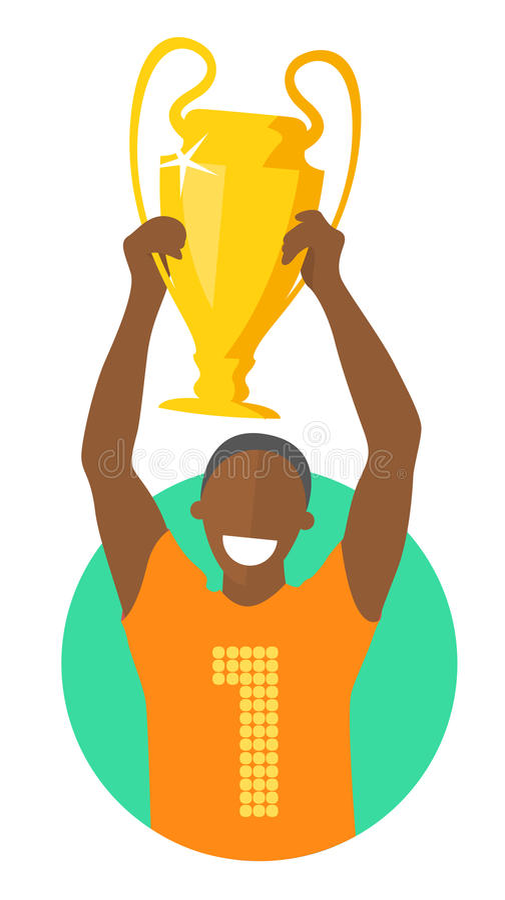 Campeón negro con la taza del ganador, diseño plano, imagen aislada en el blanco, el mejor concepto stock de ilustración