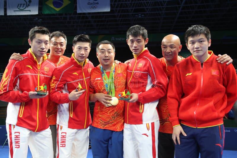Campeón olímpico del equipo de China en Río 2016 fotos de archivo libres de regalías