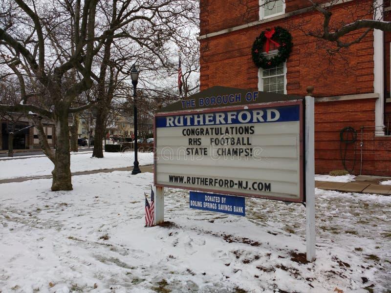 Campeões do futebol, Rutherford High School, New-jersey, EUA imagem de stock