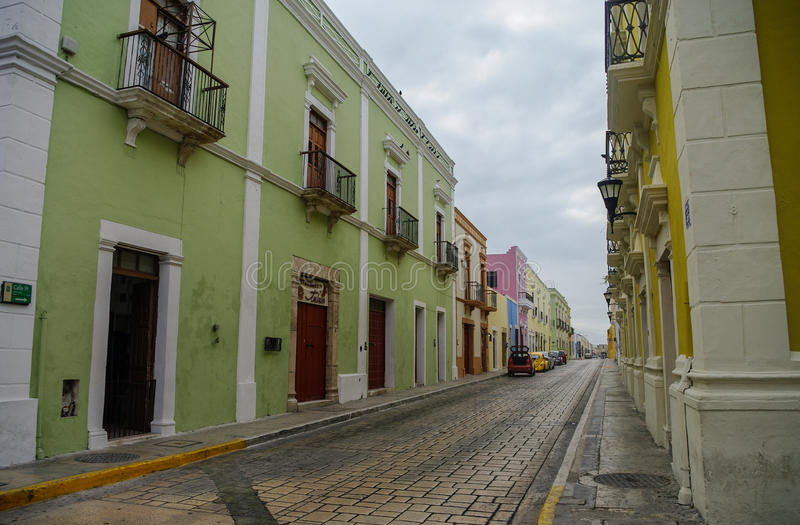 CAMPECHE, MEXICO - 01 january 2010: downtown street with typica stock photography