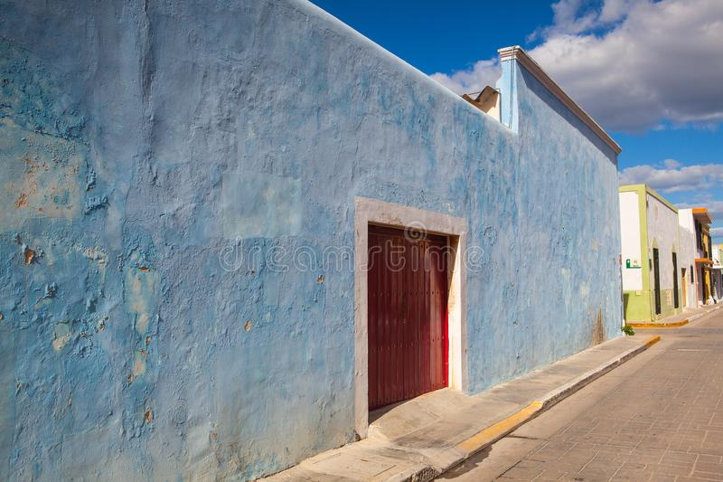Typical colonial street in Campeche, Mexico. royalty free stock photos