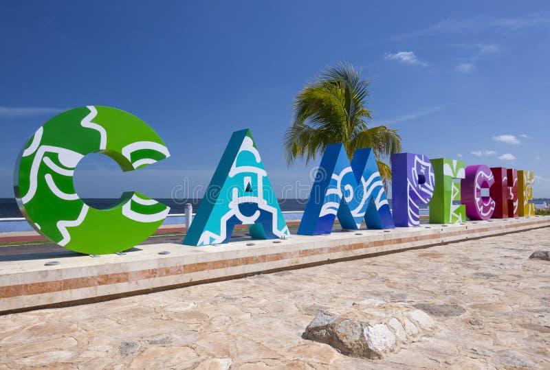 Campeche segna l'opportunità con lettere della foto per i selfies immagini stock libere da diritti