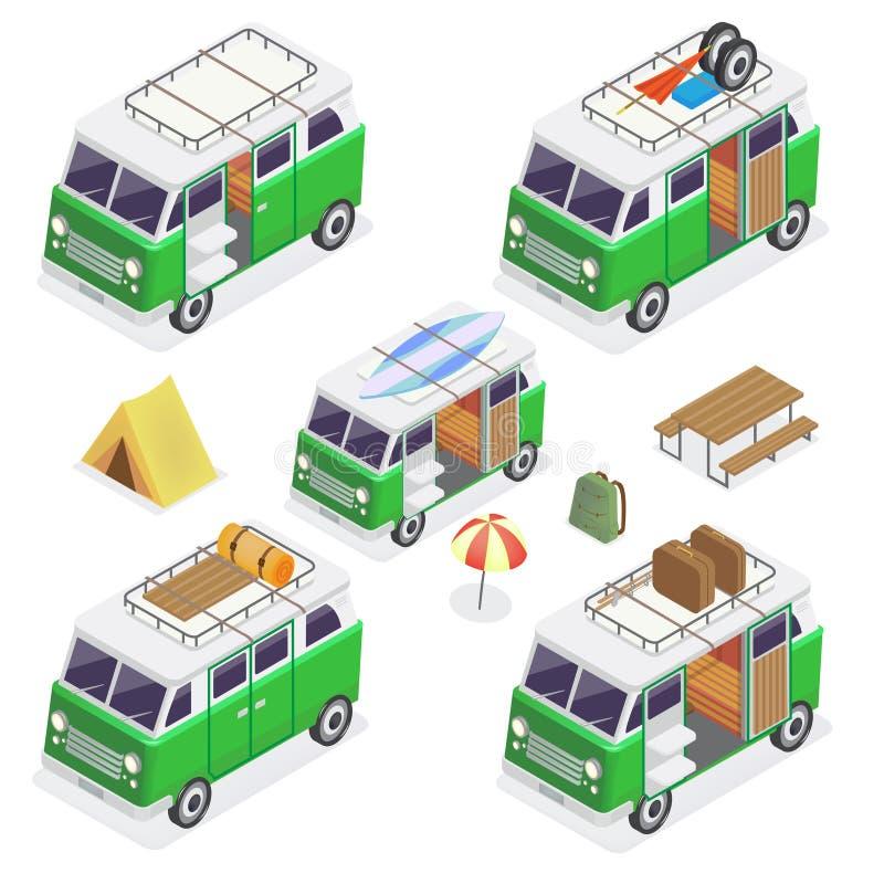 Campeggiatore isometrico messo con differenti furgoni royalty illustrazione gratis