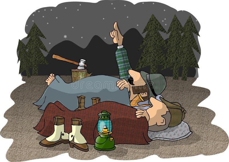 Campeggiatori all'antica illustrazione di stock