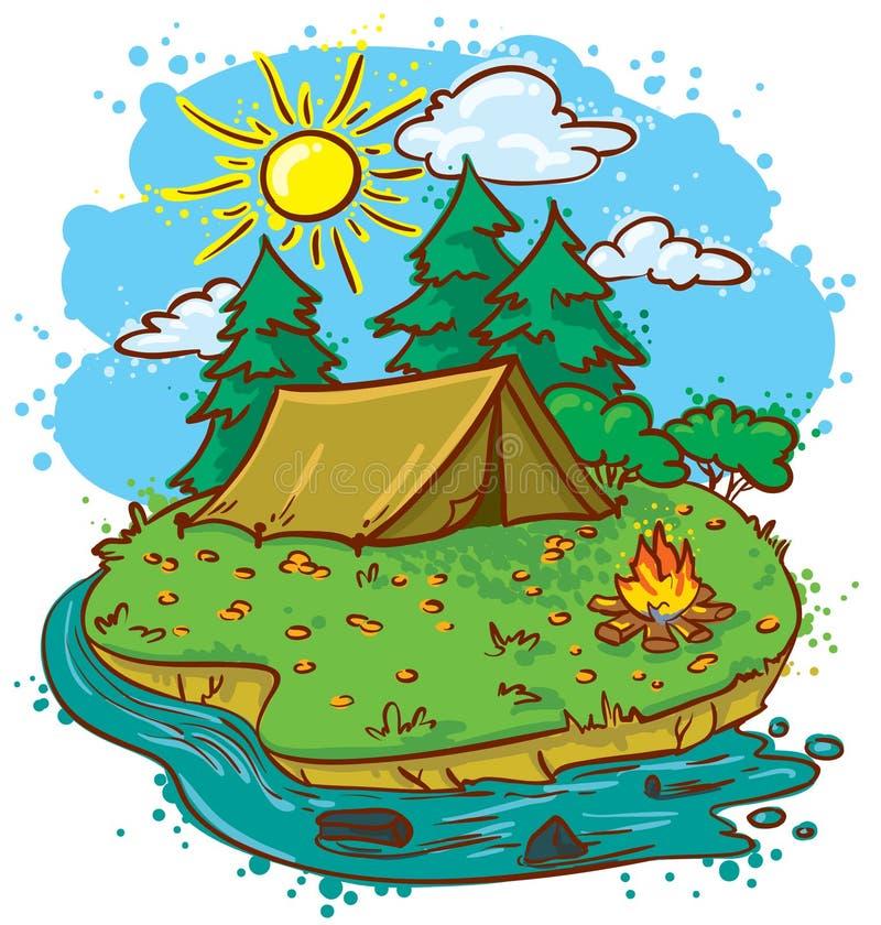 Campeggio royalty illustrazione gratis