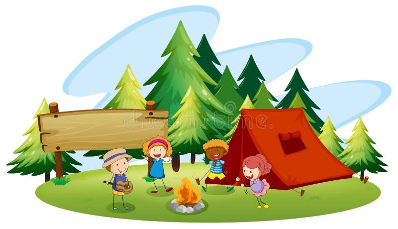 campeggio illustrazione vettoriale