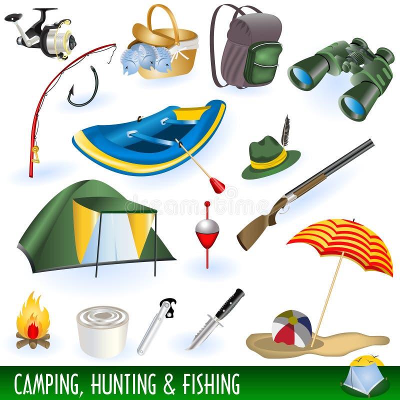Campeggio, cacciando e pescare illustrazione vettoriale