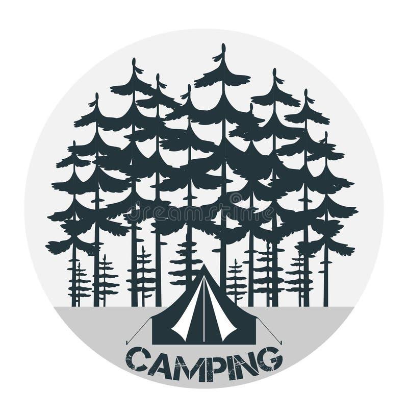 Campeggio dell'annata e logo all'aperto di avventura illustrazione di stock