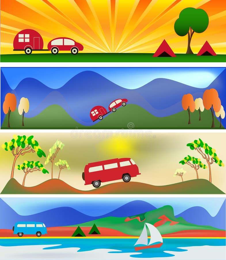 Campeggio e Caravaning illustrazione vettoriale