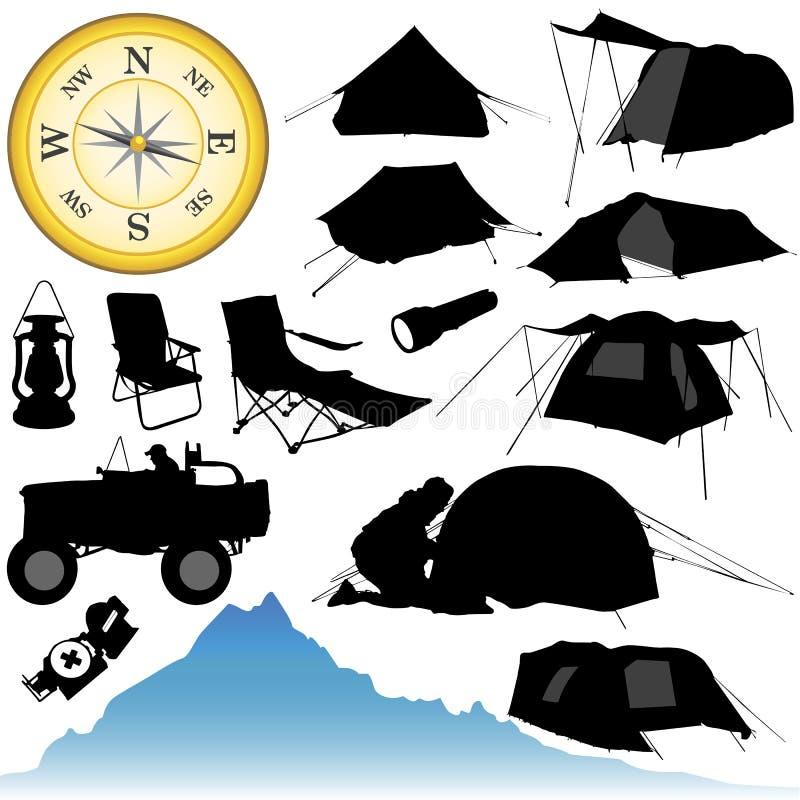 campeggio e strumentazioni royalty illustrazione gratis
